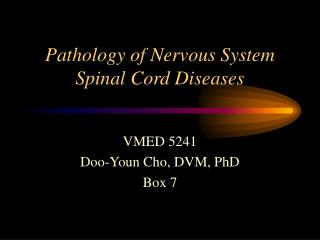 Pathology of Nervous System Spinal Cord Diseases