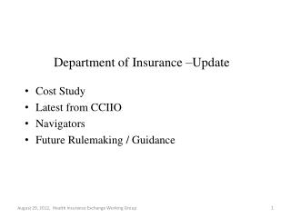 Department of Insurance –Update