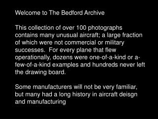 Welcome to The Bedford Archive