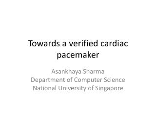 Towards a verified cardiac pacemaker