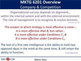 MKTG 6201 Overview  Company & Competition
