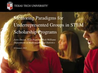 Mentoring Paradigms for Underrepresented Groups in STEM Scholarship Programs