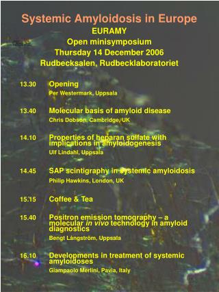 Systemic Amyloidosis in Europe EURAMY Open minisymposium Thursday 14 December 2006