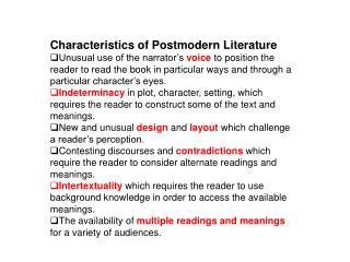Characteristics of Postmodern Literature