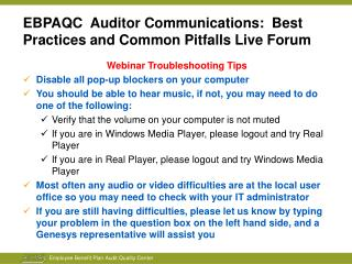 EBPAQC Auditor Communications: Best Practices and Common ...