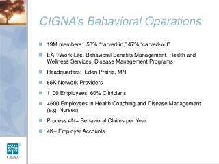 CIGNA's Behavioral Operations