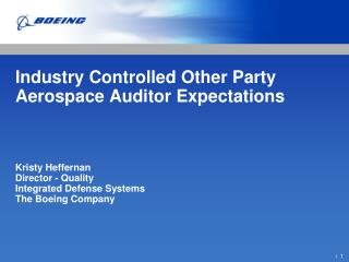 Industry Controlled Other Party Aerospace Auditor Expectations ...