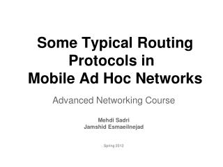 Some Typical Routing Protocols in  Mobile Ad Hoc Networks