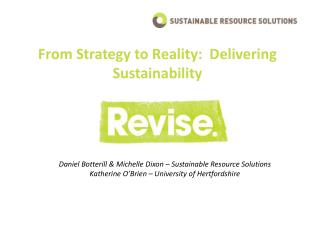 From Strategy to Reality:  Delivering Sustainability