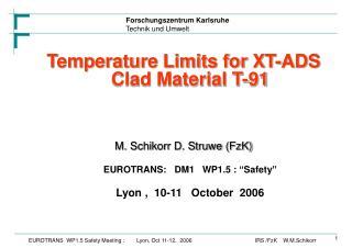 Temperature Limits for XT-ADS Clad Material T-91 M. Schikorr D. Struwe (FzK)