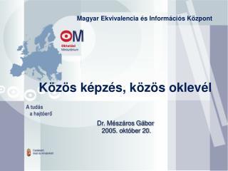 Közös képzés, közös oklevél Dr. Mészáros Gábor  2005. október 20.