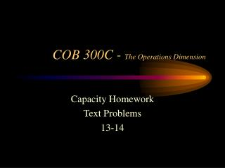 COB 300C -  The Operations Dimension