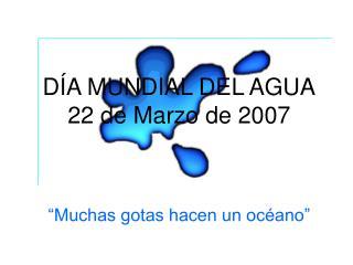 DÍA MUNDIAL DEL AGUA 22 de Marzo de 2007