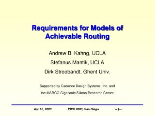 Requirements for Models of Achievable Routing