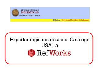 Exportar registros desde el Catálogo  USAL a
