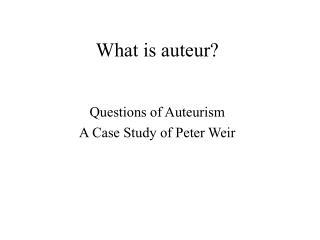 What is auteur