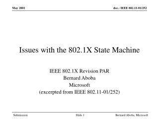 Issues with the 802.1X State Machine
