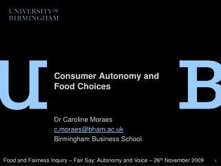 Consumer Autonomy and Food Choices