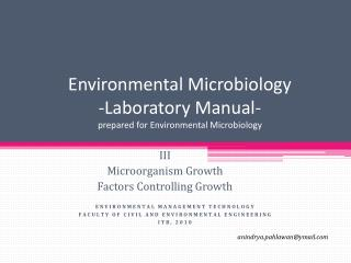 Environmental Microbiology -Laboratory Manual- prepared for Environmental Microbiology