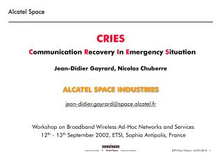Workshop on Broadband Wireless Ad-Hoc Networks and Services