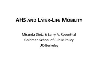 AHS and Later-Life Mobility