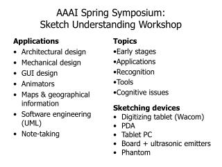 AAAI Spring Symposium:  Sketch Understanding Workshop