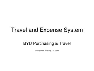 Travel and Expense System