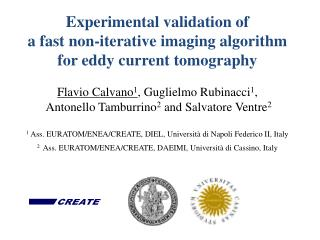 Experimental validation of  a fast non-iterative imaging algorithm for eddy current tomography