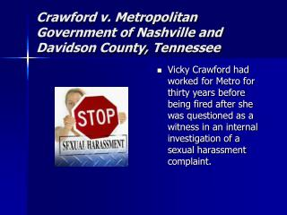Crawford v. Metropolitan Government of Nashville and Davidson County, Tennessee
