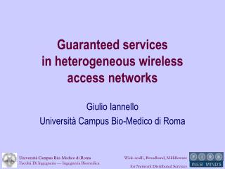 Guaranteed services  in heterogeneous wireless  access networks