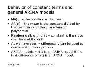 Behavior of constant terms and general ARIMA models
