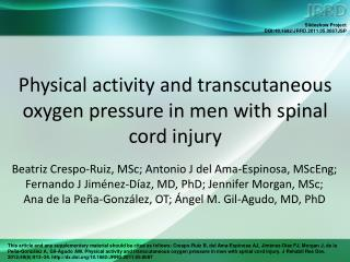 Physical activity and transcutaneous oxygen pressure in men with spinal cord injury