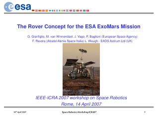 The Rover Concept for the ESA ExoMars Mission