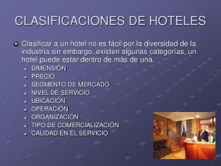 CLASIFICACIONES DE HOTELES