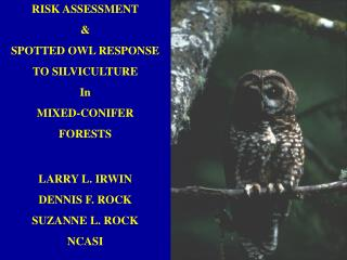 RISK ASSESSMENT & SPOTTED OWL RESPONSE    TO SILVICULTURE In MIXED-CONIFER FORESTS LARRY L. IRWIN