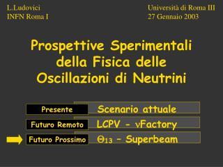 Prospettive Sperimentali della Fisica delle Oscillazioni di Neutrini