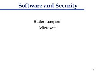 Software and Security