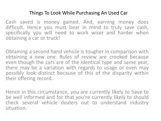 Things To Look While Purchasing An Used Car