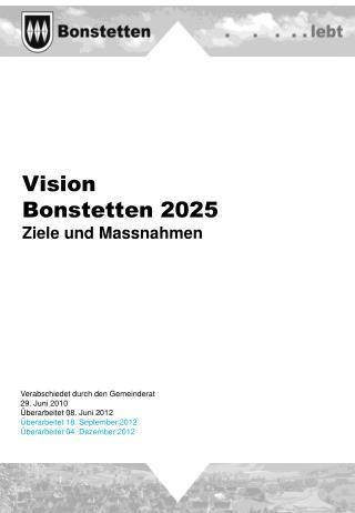 Vision  Bonstetten 2025 Ziele und Massnahmen
