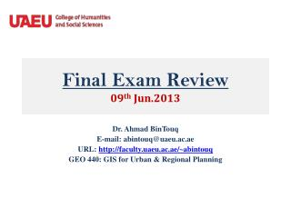 Final Exam Review 09 th  Jun.2013