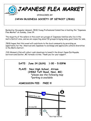 JAPANESE FLEA MARKET SPONSORED BY JAPAN BUSINESS SOCIETY OF DETROIT (JBSD)