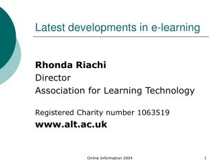Latest developments in e-learning