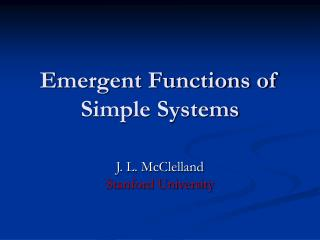Emergent Functions of Simple Systems