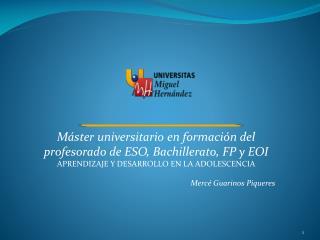 Máster universitario en formación del profesorado de ESO, Bachillerato, FP y EOI