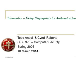 Biometrics -- Using Fingerprints for Authentication
