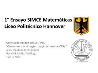 1° Ensayo SIMCE Matemáticas 2012 Liceo Politécnico Hannover