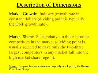 Description of Dimensions