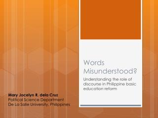Words Misunderstood?