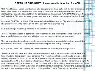 SPEAK UP CINCINNATI! A new website launched for YOU