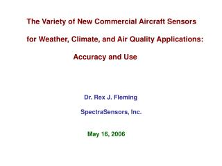 The Variety of New Commercial Aircraft Sensors